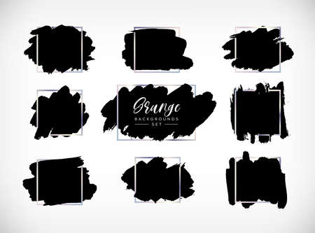 Grunge vector backgrounds set. Hand drawn brush spots with silver frames. Ink brush strokes, black paint spot textured design element, background for text with chrome steel square border 矢量图像