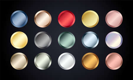 Metal chrome circle buttons set. Vector Metallic rose gold, bronze, silver, steel, holographic, golden badge. Foil shiny color design elements for background, web, apps. Çizim