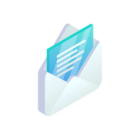 New open message isometric icon, Mobile Email, New e-mail sign. 3d white open envelope isolated.