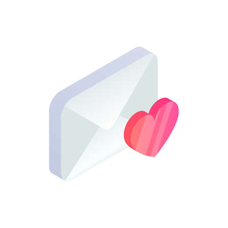 Favorite message isometric icon, 3d Email Mobile symbol with heart shape. Choose e-mail sign. Social network, sms chat, mail web mark vector illustration for website, landing design, app, advert.