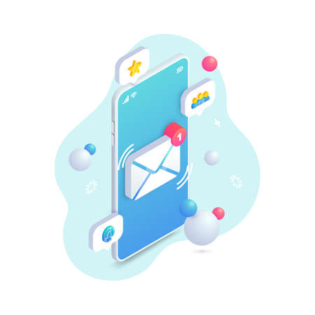New incoming message isometric concept, 3d Email Mobile notification. New e-mail on smartphone screen. 矢量图像