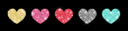 Decorative glitter shiny hearts set isolated on black. Rose gold, pink, golden, silver, red, mint glossy sparkles shape. 矢量图像