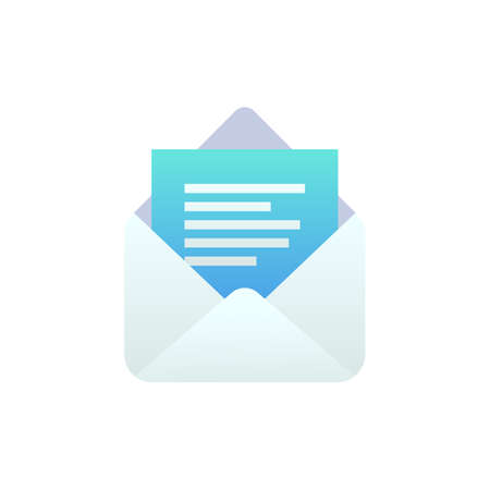 New open message flat icon, Mobile Email, New e-mail sign. White open envelope isolated. Social network, sms chat, spam, incoming mail vector envelope symbol for web, landing design, app, advert.