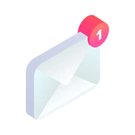 New incoming message isometric icon, 3d Email Mobile notification. New e-mail sign. Social network, sms chat, spam, new mail vector symbol for website, landing design, app, advert.