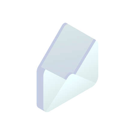 New message isometric icon, Mobile Email, New e-mail sign. 3d white open empty envelope isolated. Social network, sms chat, electronic mail vector symbol for website, landing design, app, advert.