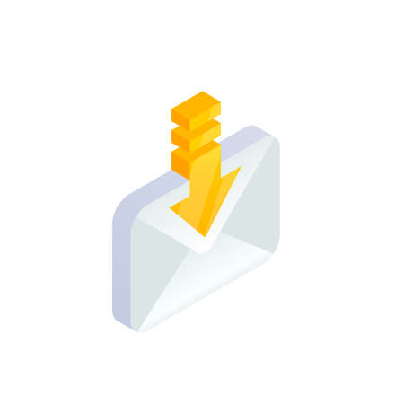 Receive Email, New message isometric icon. E-mail with arrow sign. Incoming letter. 3d Social network, sms chat vector envelope symbol for website, landing design, mobile app, advert.