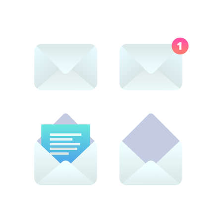 Mobile Email flat icon set, New incoming message notification, open message, e-mail sign. Social network, sms chat, spam, new mail vector symbols for website, landing design, app, advert. 向量圖像