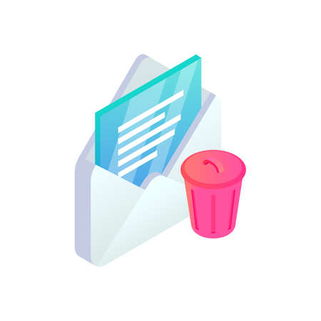 Delete email isometric icon. 3d open message with trash icon isolated. Mobile Email bin sign. Social network, sms chat, spam, mail vector symbol for web, landing, app, advert, infographic.