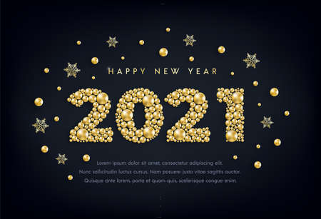 Happy New Year 2021 greeting card design with numbers of golden bead, star, snowflake on black. Gold metallic pearl luxury Christmas background. Vector illustration for social media, banner concept