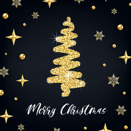 Merry Christmas gold greeting card template. Hand drawn stylized Christmas tree with golden glitter effect on black decorated background. New Year square Vector illustration for print design, tag, web