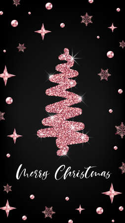 Merry Christmas rose gold greeting card vertical banner template. Hand drawn Christmas tree with glitter effect on black decorated background. 矢量图像