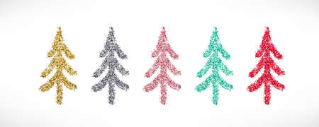Gold glitter textured Christmas tree hand drawn icons set. Vector Shiny Christmas, New year and winter sparkling golden, silver, pink, red and blue symbols.
