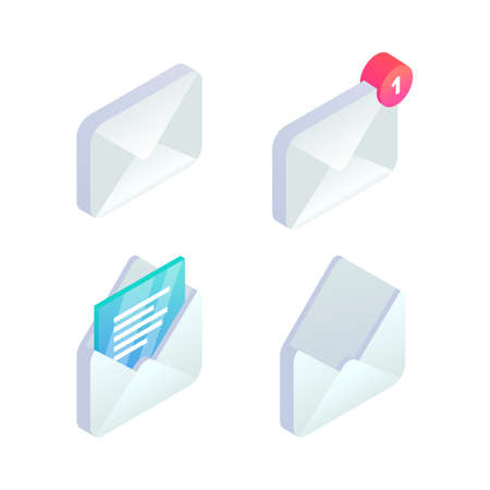 Mobile Email isometric icon set. 3d New incoming message notification, open message, e-mail sign. Social network, sms chat, spam, new mail vector symbols for website, landing design, app, advert.
