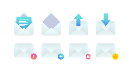 Email flat icon set, New incoming message notification, open, add new message, send e-mail sign. Mobile Social network, sms chat, favorite, new mail vector symbols for website, landing, advert, app