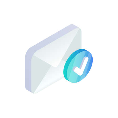 Email with yes check mark, confirmation message isometric icon, verification e-mail message concept. 3d Successful email delivery sign. Social network, sms chat, electronic document vector design