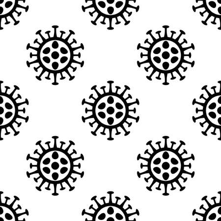 Coronavirus simple flat seamless pattern. Corona virus 2019-nCoV background with black viruses on white background. COVID-19 Pandemic print texture. Vector illustration