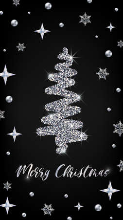 Merry Christmas silver greeting card vertical banner template. Hand drawn Christmas tree with glitter effect on black decorated background. New Year Vector illustration social media design, web, app.