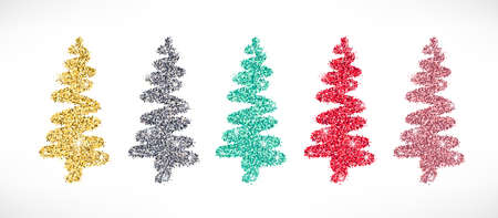 Gold glitter stylized Christmas tree hand drawn icons set. Vector Shiny textured Christmas, New year and winter sparkling golden, silver, pink, red and blue symbols for decoration, cute greeting card. 矢量图像