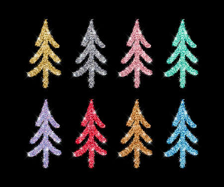Gold glitter textured Christmas tree hand drawn icons set on black. Vector Shiny Christmas, New year and winter sparkling golden, silver, pink, red and blue symbols for decoration, cute greeting card. 矢量图像
