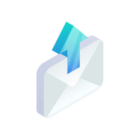 Send Email, New message isometric icon. E-mail with arrow sign. Outgoing mail. 3d Social network, sms chat vector envelope symbol for website, landing design, mobile app, advert.