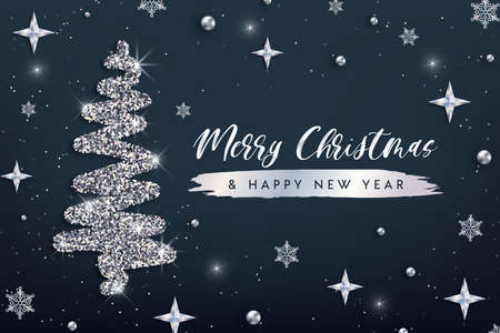 Merry Christmas and Happy New Year greeting card template. Hand drawn stylized Christmas tree with silver glitter effect on dark decorated background. Vector illustration for print design, web banner. 矢量图像
