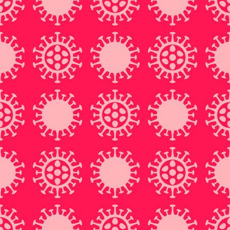 Coronavirus flat seamless pattern. Corona virus 2019-nCoV background with pink viruses on red background. COVID-19 Pandemic print texture. Vector illustration. 矢量图像
