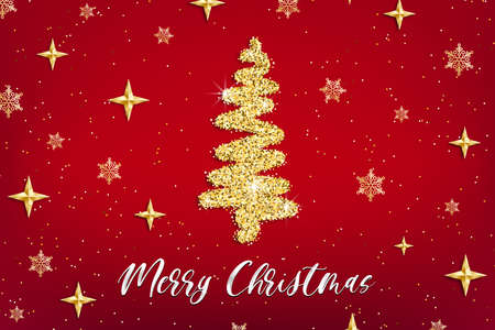 Merry Christmas gold greeting card template. Hand drawn stylized Christmas tree with golden glitter effect on red decorated background. New Year Vector illustration for print design, web banner, app.