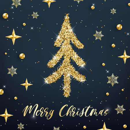 Merry Christmas gold greeting card template. Hand drawn stylized Christmas tree with golden glitter effect on blue decorated background. New Year square Vector illustration for print design, tag, web