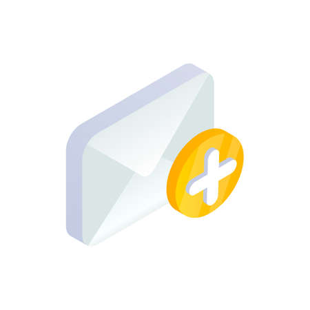 Add message, write new Email isometric icon. 3d e-mail symbol with plus sign. Social network, Mobile sms chat vector illustration for website, landing design, app, advert, infographic