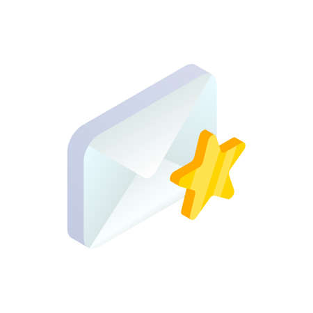 Favorite message isometric icon, 3d Email Mobile symbol with star shape. Choose e-mail sign. Social network, sms chat, mail web mark vector illustration for website, landing design, app, advert. 矢量图像