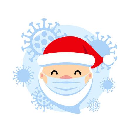 Santa Claus with protective mask and corona virus vector illustration. COVID - 19 Christmas cute flat symbol. Pandemic coronavirus New Year concept