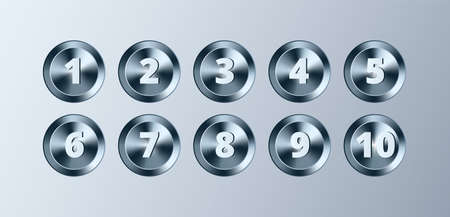 Metal circle buttons with numbers set. Vector Chrome Metallic textured gold badges, shiny design elements for background, web, apps. 矢量图像