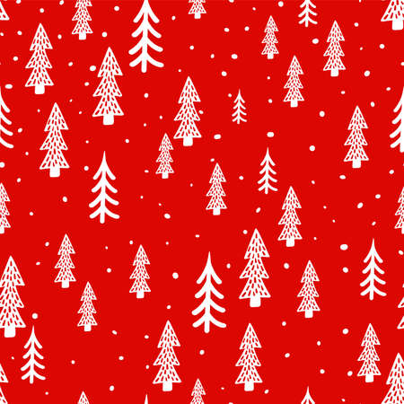 Christmas forest scandinavian hand drawn seamless pattern. Vector New Year, Winter, holidays red texture with Christmas tree for print, paper, design, fabric, decor, background.