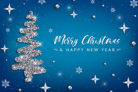 Merry Christmas and Happy New Year greeting card template. Hand drawn stylized Christmas tree with silver glitter effect on blue decorated background. Vector illustration for print design, web banner.