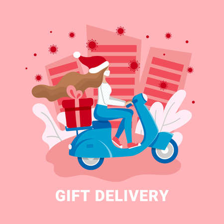 Gift Christmas contactless delivery, coronavirus online shopping concept. Girl courier in medical mask delivers gift box on scooter. Non contact shipping service vector illustration