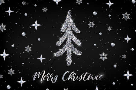Merry Christmas silver greeting card template. Hand drawn stylized Christmas tree with metal glitter effect on black decorated background. New Year Vector illustration for web banner, print design