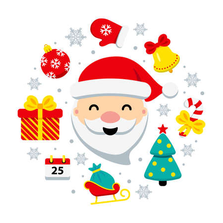 Merry Christmas circle concept. Santa Claus with icons around. Merry Christmas and New Year 2021 cute flat vector illustration.