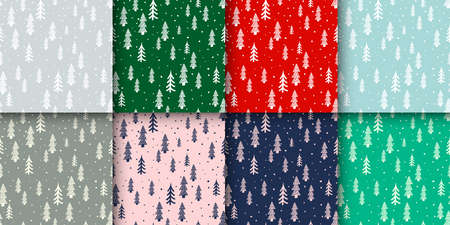 Winter forest scandinavian hand drawn seamless pattern set. Vector New Year, Christmas, holidays pastel gray, red, blue, green texture with Christmas tree for print, paper, design, decor, background. 矢量图像