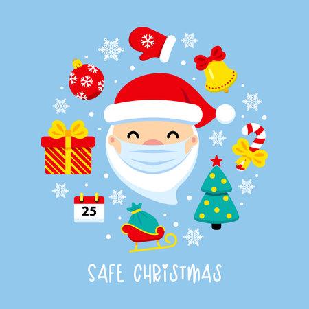Safe Christmas corona virus banner. Santa Claus with protective mask and icons around. COVID-19 Merry Christmas cute flat vector illustration. Pandemic coronavirus New Year 2021.