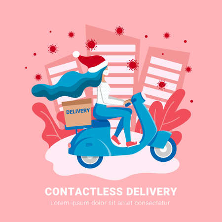 Contactless Christmas delivery, coronavirus online shopping concept. Girl courier in medical mask delivers box on scooter. Non contact Gift shipping service vector illustration