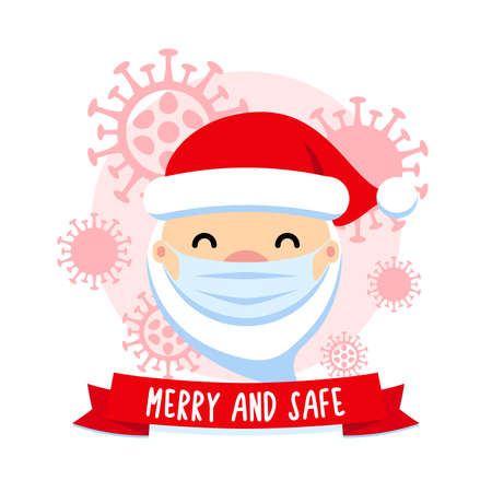 Merry and safe. Santa Claus with protective mask and corona virus. COVID - 19 Christmas cute flat vector illustration. Pandemic coronavirus New Year 2021 concept. 矢量图像