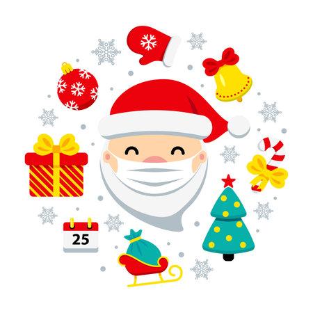 Safe Christmas corona virus concept. Santa Claus with protective mask and icons around. COVID-19 Merry Christmas cute flat vector illustration. Pandemic coronavirus New Year 2021. 矢量图像
