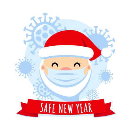 Safe New Year concept. Santa Claus with protective mask and corona virus. COVID - 19 Merry Christmas cute flat vector illustration. Pandemic coronavirus New Year 2021.