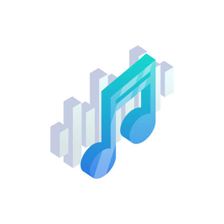 Isometric music icon. 3D Sound wave music flat vector sign. Audio technology, music notes, musical pulse symbol. 矢量图像
