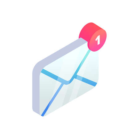 New incoming message isometric icon, 3d Email Mobile app notification. New e-mail sign. Social network, sms chat, spam, new mail vector symbol for website, landing page design, advert. 矢量图像