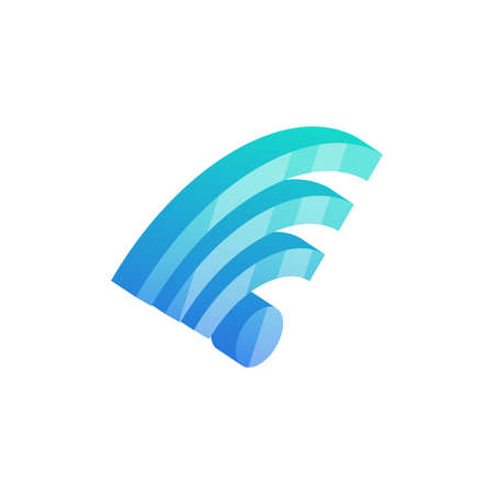 Isometric wifi icon. 3D wireless network zone symbol isolated on white background. Podcast vector sign.