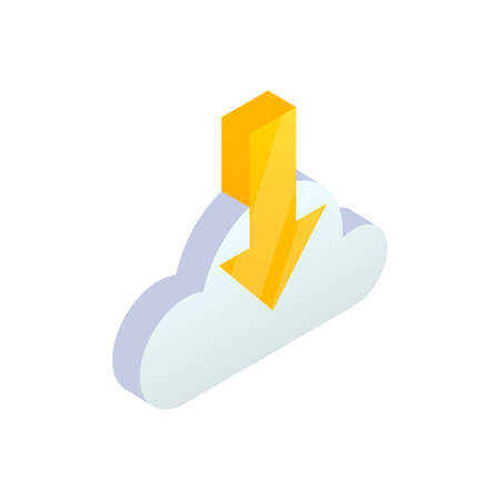 Cloud Computing Download Isometric Icon with down arrow. 3d Cloud storage digital service, data transfering mobile app symbol. Vector network technology, big data concept for web design, infographics