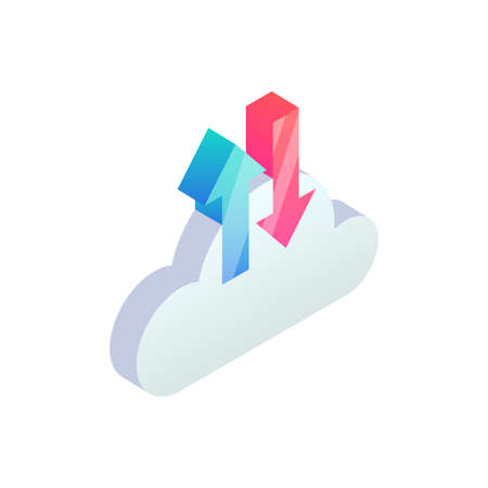 Cloud computing backup and restore isometric Icon with up and down arrows. 3d Cloud storage digital service, data transfering web app. Vector network technology, big data upload and download concept 矢量图像