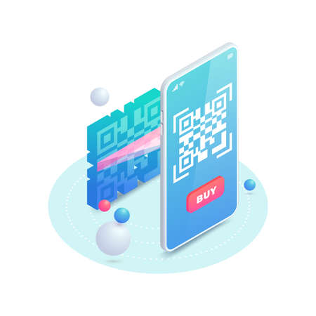 Scan QR code on smartphone screen. 3d Scanning barcode concept, QR pay isometric vector illustration. Electronic online contactless payment. Digital code mobile phone cashless payment.