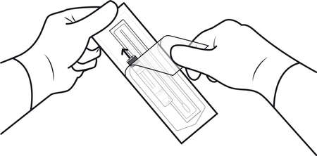 Open the individual collection package that contains the swab and Viral Transport Medium tube. Step 1 일러스트